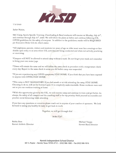 Letter Kermit ISD Summer Update of Sports, Training, Cheerleading and Band Workouts