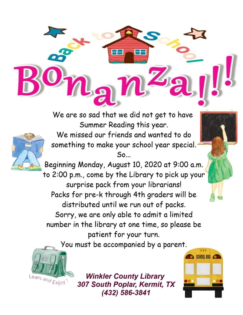 Winkler County Library Back to School Bonanza